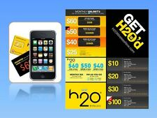100 H2O Wireless Starter Kit Sim Card. Use with any AT&T Phones or unlocked GSM
