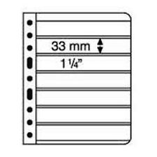 5 BLACK VARIO STAMP STOCK SHEETS DOUBLE SIDED, 7 STRIPS - (195mm X 33mm STRIPS)
