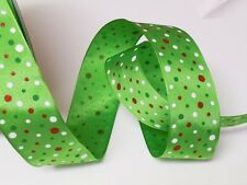 5yd Red White Polka Dots on Lime Green Satin Wired Ribbon Christmas Gifts Party