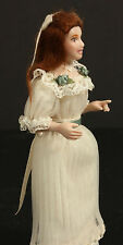 Young Woman in White Dress With Green Accents Porcelain Miniature Doll