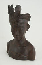 "Bali Wood Carved Bust Head Face Figure Signed Ida Bg Rai Sanur Bali 8.5"" (CB8)"