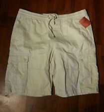 CARGO Shorts Elastic Waist Cream Color Size L Men DRAW STRINGS by Mossimo NWT