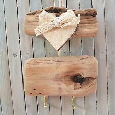 CHIC SHABBY WOODEN DRIFTWOOD HANGING STORAGE HEART COAT KEY HOOKS PLAQUE SIGN