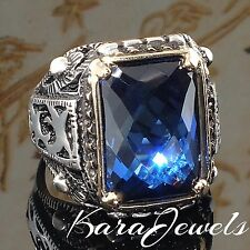 925 Sterling Silver Men Ring with Blue Sapphire CZ Unique KaraJewels Design