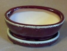 "Lovely Bonsai Pot & Matching Saucer Small 4"" long NEW, Red Oval"