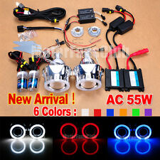 "55W 2.5"" BI-Xenon H/L HID Projector Lens Kit Headlights Upgrade Angel Eyes Halo"