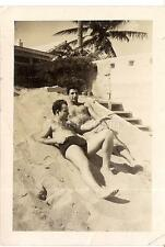 Handsome Beefcake Shirtless Swimsuit Man Giving His Friend Pointer 1940s Photos