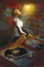 """JUSTIN BUA The DJ LAMINATED POSTER """"61x91cm Mixing Music Club, Turntables"""" NEW"""