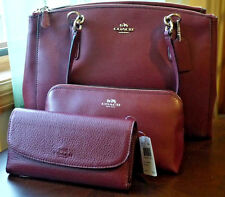 NWT COACH Christie Burgundy Leather Carryall Tote Shoulder Bag Purse F36606 NEW