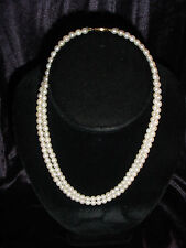 """Vintage 14K Yellow Gold Clasp 5mm Natural Pearl Double Strand Necklace 16"""" inch"""