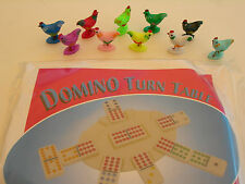 30 ASSORTED CHICKENS AND 3 DOMINO TURN TABLES FOR THE CHICKEN FOOT GAME FREE S&H