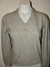 VINTAGE 60s COURREGES LOVELY!!HEATHERED GRAY CASHMERE V-NECK CROP SWEATER*0 XS
