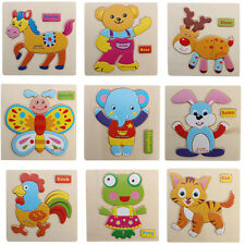 1pc Wooden Blocks Cartoon Image Jigsaw Puzzle Kids Lovely Pre-school Toy Puzzle