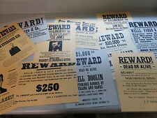 Reward Posters: Old West, Wells Fargo, Outlaws, 12 Different on Card Stock