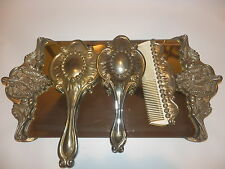 Vintage Ornate Mirror Brush Comb Perfume Tray Set Vanity Dresser Silver Plated