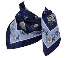 Trachtentuch Halstuch Damen Herren Trachtenhalstuch Edelweiß Blau Marin Hellblau