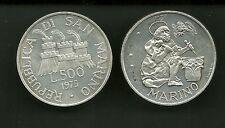 MONETA SAN MARINO FDC LIRE 500 ag 835/.. . ARGENTO SILVER SCALPELLINO 1975