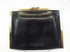 Etra Women's Handbag, Black Croco Embossed Leather Frame Purse, Small Clutch