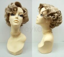 Short Blonde Curly Wig #24 Old Hollywood Pin Curls Vintage Costume 50s Retro
