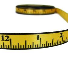 "5 Yds School Ruler Sewing Seamstress Measuring Tape Yellow Satin Ribbon 5/8""W"