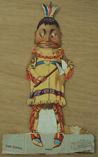"Antique ca 1890 Advertising DIE CUT ""INDIAN""~Lion COFFEE~Brownie DOLLS~"