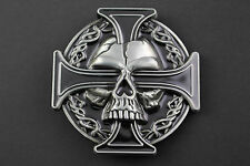 GOTHIC NORSE CROSS SKULL EYE GREY & BLACK METAL BELT BUCKLE