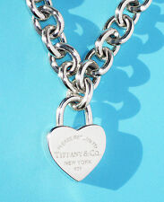 Tiffany & Co Return To Tiffany Sterling Silver Heart Padlock Necklace