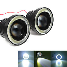 2x Car Angel Eye COB White Halo Ring LED DRL Projector Len Fog Driving Light SUV