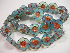 12 beads -  Blue Opal Czech Glass Flower Beads 12mm