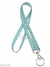 Narrow Necklace Lanyard in Aqua & White with D- key ring