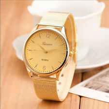 Fashion Womens Classic Gold Geneva Quartz Stainless Steel Wrist Watch HOT