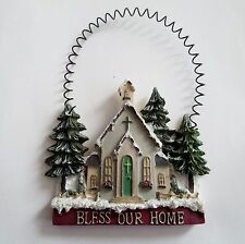 Bless Our Home Ornament - Resin w/Wire Hanger - Pine Trees Church    NEW