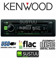 KENWOOD KDC 100UG Green Single DIN Radio CD MP3 WMA Head Unit Car Stereo