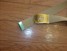 MILITARY STYLE KHAKI WEB BELT WITH NAVY UDT SILVER INSIGNIA BRASS BUCKLE