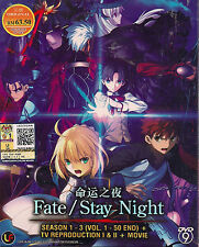 DVD Fate/Stay Night Season 1-3 Vol. 1-50 end + TV Reproduction 1 & 2+Movie