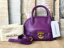 $1650 SALVATORE FERRAGAMO Purple Leather Mini Framma Satchel Crossbody Bag NEW