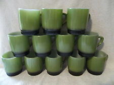 12 Fire King Green & Black Ribbed Bottom Stacker Mugs Glossy Shiny Condition!