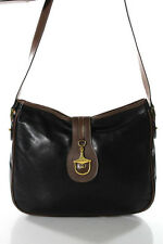 Gucci Black Brown Leather Small Gold Tone Flap Shoulder Handbag LL19LL
