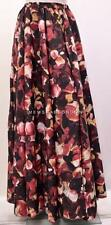 PLUS SIZE FUNKY DIGITAL ROSE PETAL PRINT HIGH WAIST MAXI SKIRT PINK 16 18 20 22