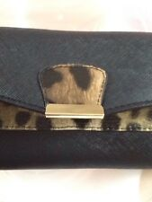 NEW - CLAIRE'S ACCESSORIES ICING black & animal print large purse/wallet