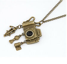 Hot Retro Bronze Plated Metal Chain Necklace Charm Camera Tassels Dangle Pendant
