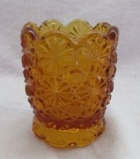 "L E SMITH GLASS DAISY AND BUTTON TOOTHPICK ""AMBER"""
