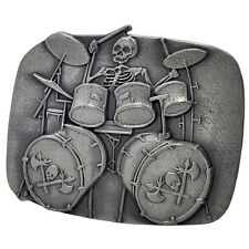 SILVER Skull Playing Drums Belt Buckle Brushed Heavy Metal Rock Hip Cool