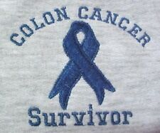 Colon Cancer Blue Ribbon XL SURVIVOR Gray Crew Neck Sweatshirt Unisex New