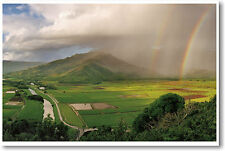 Hanalei River Valley Hawaii Double Rainbow - Travel Art Print - NEW POSTER