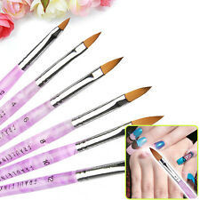 Nail Art 6 Pcs size 2 4 6 8 10 12 Acrylic Design Drawing Pen UV Gel Brushes