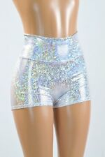 SMALL High Rise Silver on White Shattered Glass Rave Party Shorts Ready To Ship