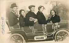 """Family In Make-Believe Prop """"Packard"""" Auto, Slater Studio, Toledo OH RPPC"""