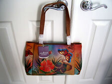 NEW ANUSCHKA HAND PAINTED GENUINE LEATHER TOTE SATCHEL ZIPPER BUTTERFLIES FLORAL