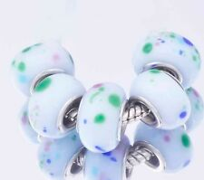 5Pcs GF Silver White GREE Circle MURANO GLASS lampwork european beads hot sale